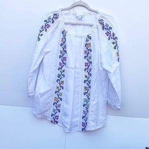 J Jill Linen Peasant Blouse Size Medium